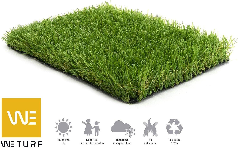 WETURF Césped Artificial/Césped Sintético 45mm (2mx0, 5mx4, 8m, Verde Oliva con tubo cebtral y rizo Beig): Amazon.es: Jardín