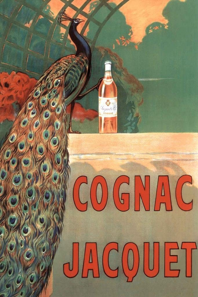 Camille Bouchet Cognac Jacquet Peacock Vintage French Brandy Beverage Advertisement Cool Wall Decor Art Print Poster 24x36