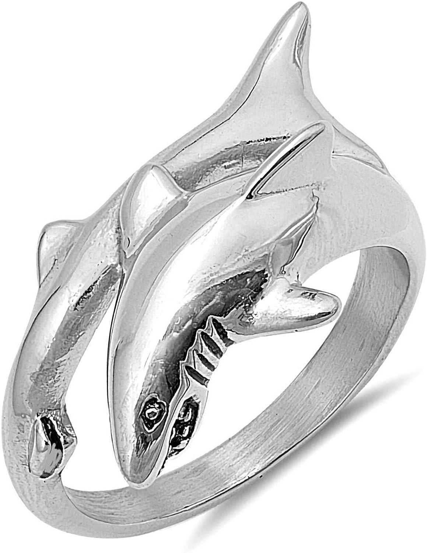 Wedding Season Import Mens 20mm Stainless Steel Unique Shark Ring Sizes 7-13