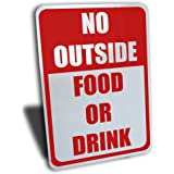"""Wake Up Signs No Outside Food or Drink Sign, Aluminum, Red, 7"""" by 10"""" …"""