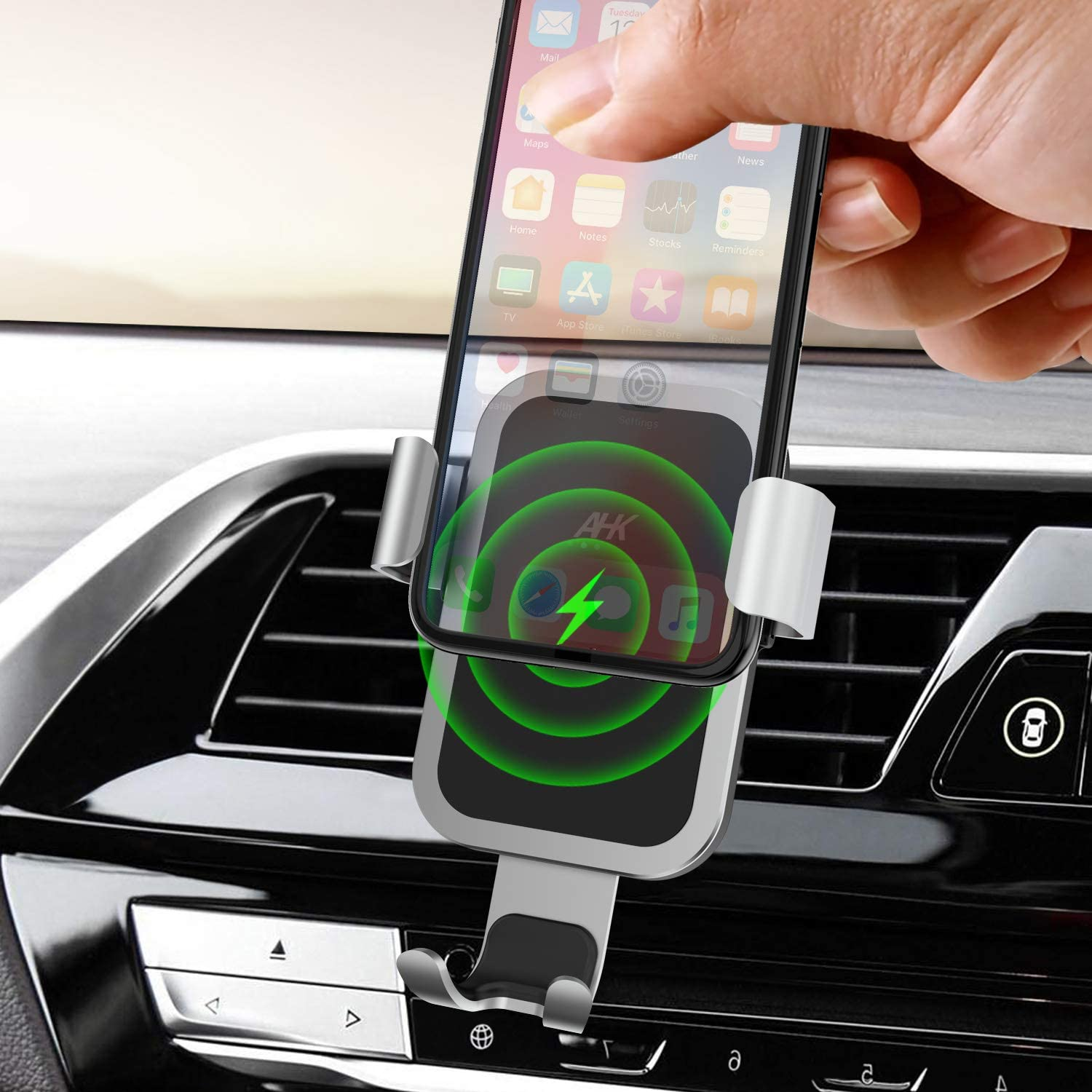 AHK Wireless Charger Car Mount Silver Fast 10W Qi Gravity Windshield Dashboard Air Vent Phone Holder for iPhone Xs//Max//X//XR//8//8 Plus Samsung Galaxy Note 9// S9// S9+// S8//S8+//S7//S6 Edge