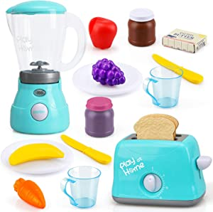 TOY Life Toy Blender with Light and Toy Toaster with Sound Effect- Pretend Play Kitchen Accessories Set for Kids Toddlers - Kitchen Toys for Grils Contains Plates Utensils, Play Food, and Etc.