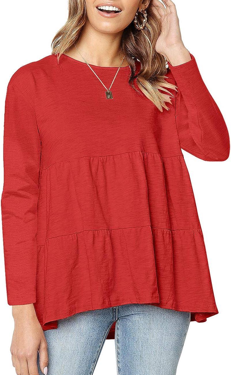 Womens Short Sleeve Casual Loose Blouse High Low Hem Ruffle Peplum T Shirt Tops