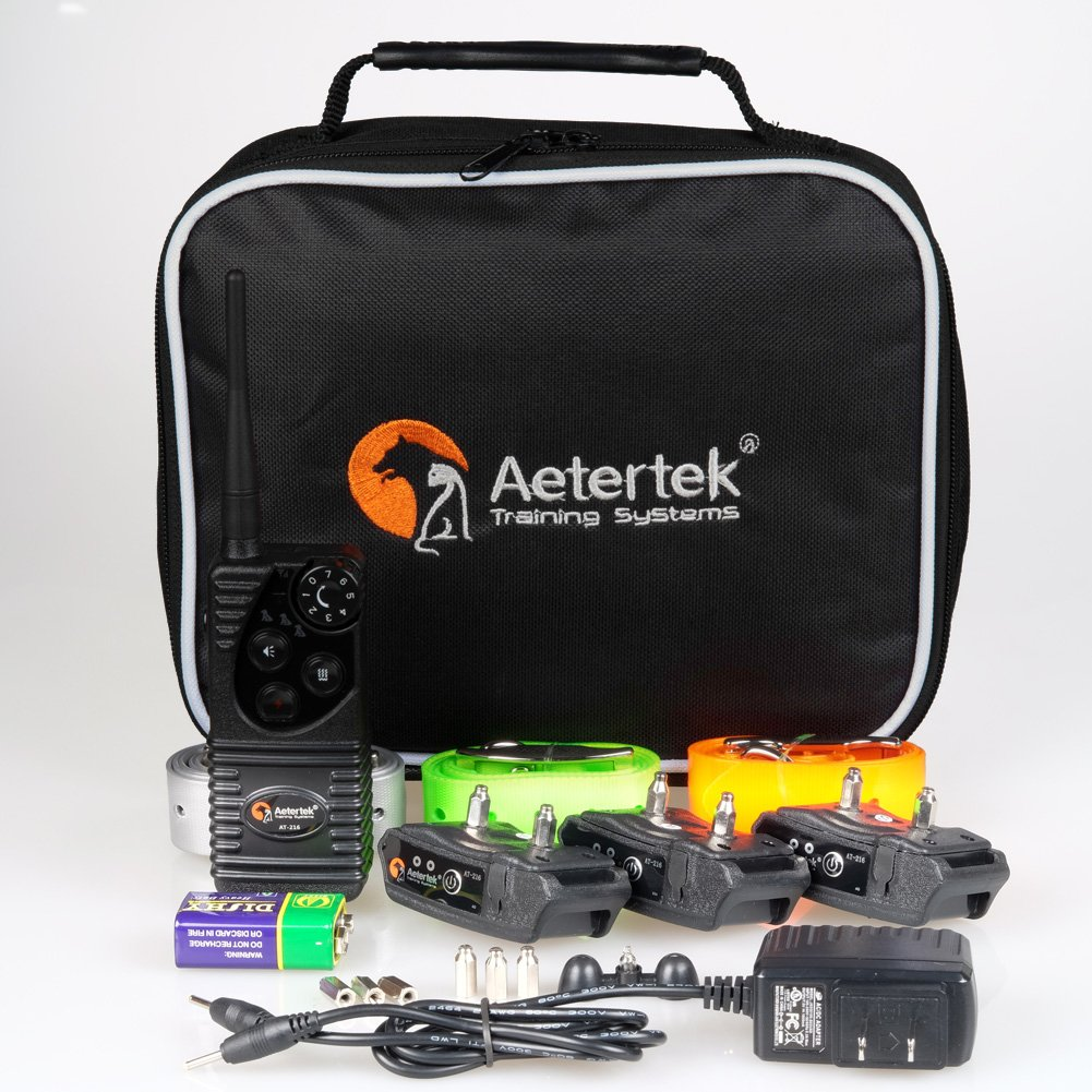 Aetertek AT-216W Rechargeable 600 Yard Remote Pet Dog Trainer Dog Training Electric Shock Collar Water-resistant For 3 Dogs