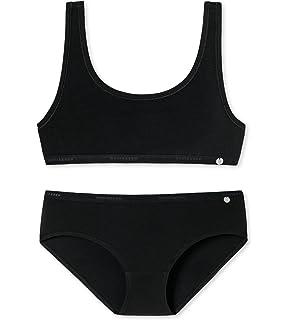 248f96317f Schiesser Mädchen Teens - Unterwäsche Set Bustier + Panty aus Serie Basic  95/5 Schwarz