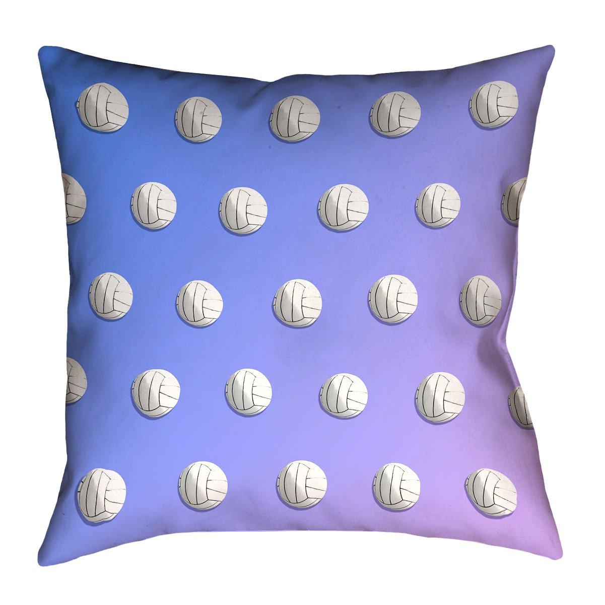 ArtVerse Katelyn Smith 18 x 18 Indoor//Outdoor UV Properties-Waterproof and Mildew Proof Blue /& Purple Ombre Volleyball Pillow