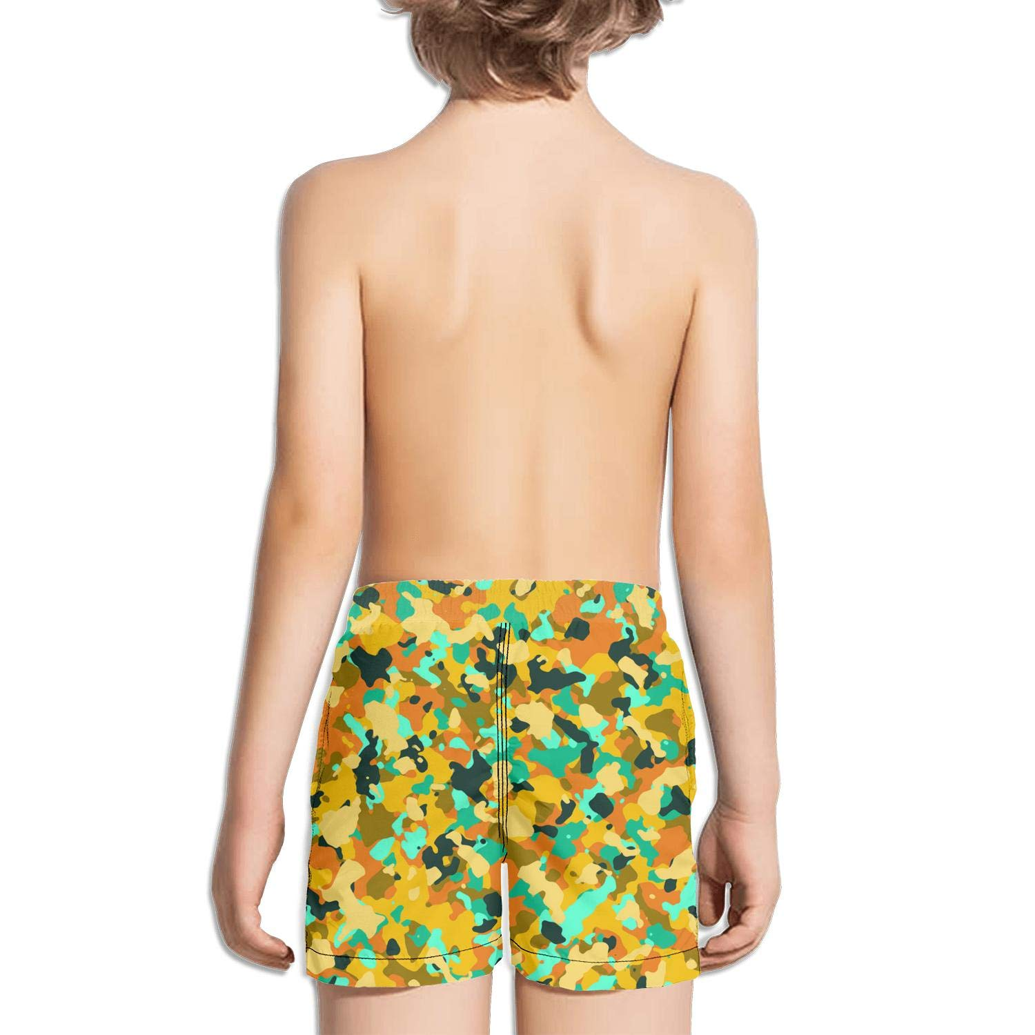 Yellow Green Seamless camo face Miles Core Side Split Swimming Trunks Shorts
