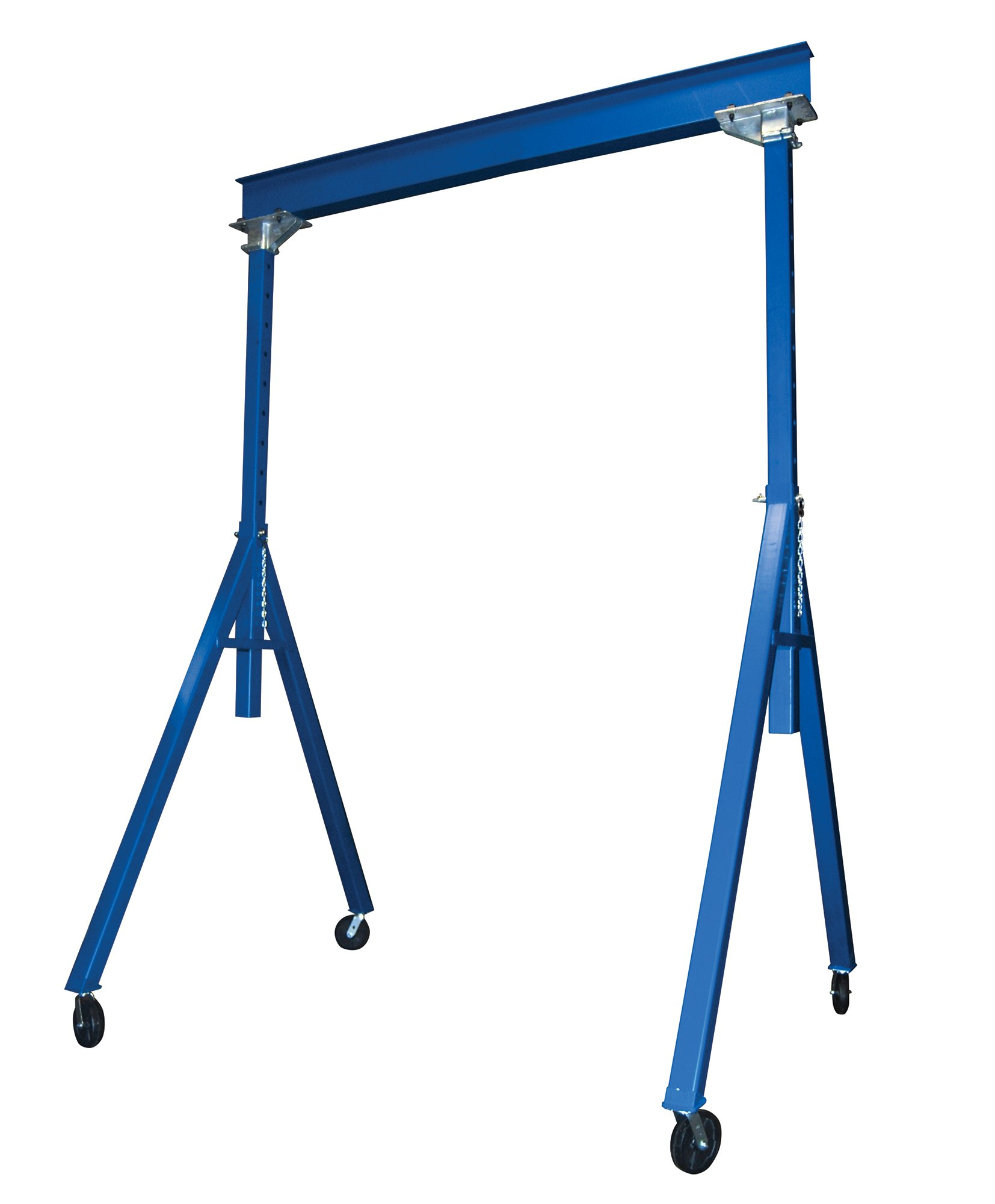 Vestil AHS-6-20-16 Steel Adjustable Height Gantry Crane, 6000 lbs Capacity, 20' Length x 12'' Height Beam, 127''-193'' Usable Height