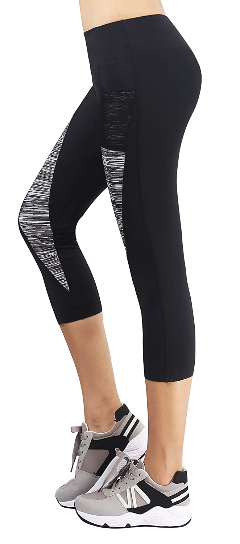 Sugar Pocket Womens Capris Workout Running Leggings Yoga Pants