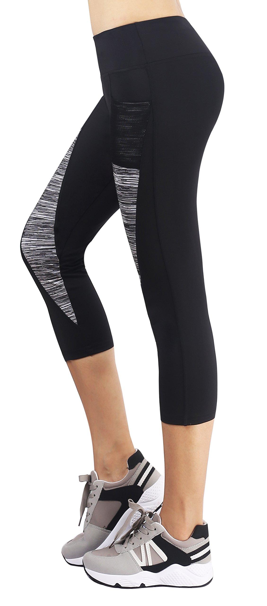 Sugar Pocket Women's Capris Leggingss Workout Tights Running Yoga Pants XL(Black/Grey)