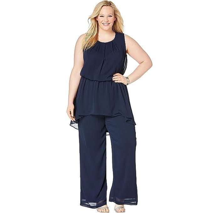 563904c86c Amazon.com: Jessica London Women's Plus Size 2-Piece Wide Leg Pant ...