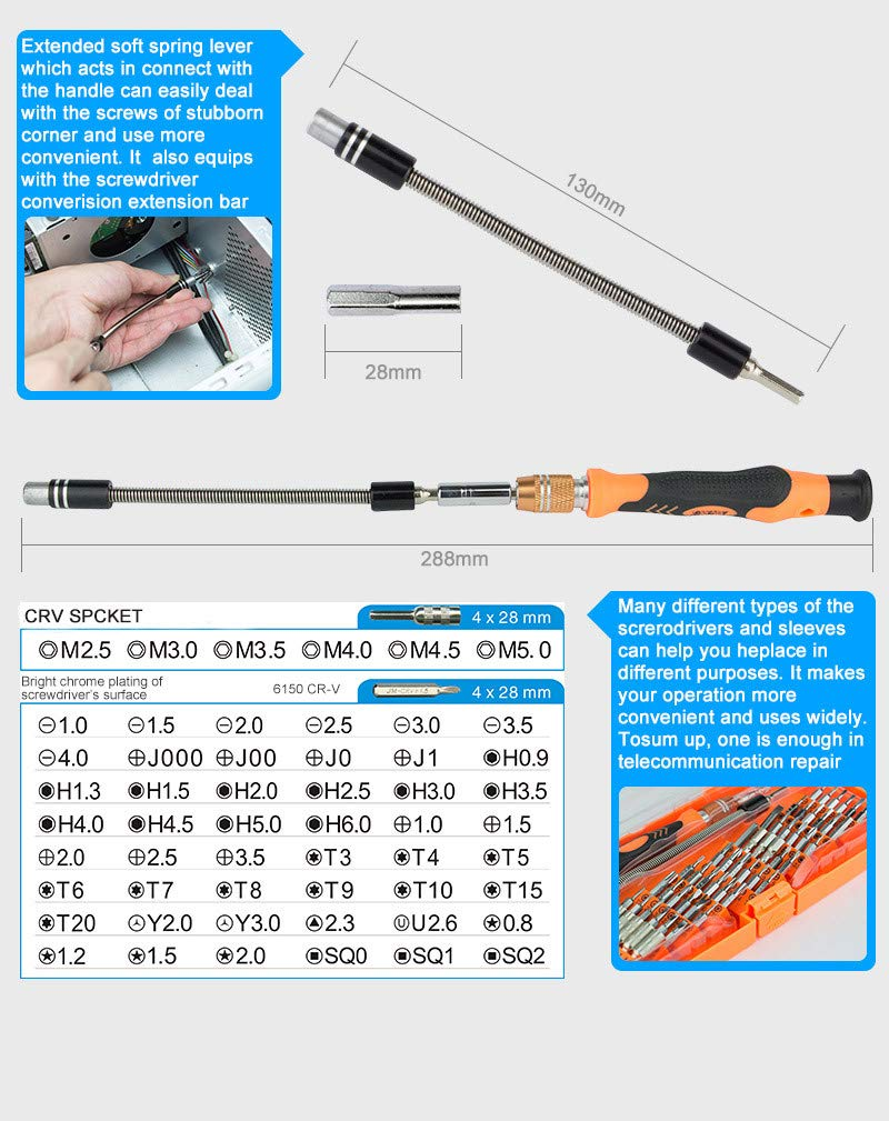 Sonmer JM-8125 Screwdriver Kit, CR-V Bits, PP & TPR Handle,Multitool 58-in-1 Hardware Hand Tool Screwdriver Set,With 60mm Shaft Extension, for Cellphones Electronics and Home Appliances Repairing