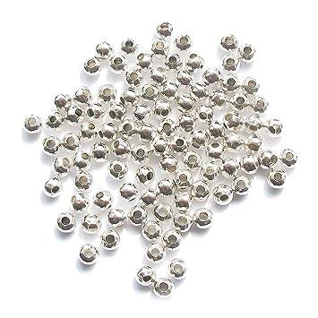 f3a272987bf7 Hemore - Cuentas espaciadoras de metal de 4 mm bañadas en plata