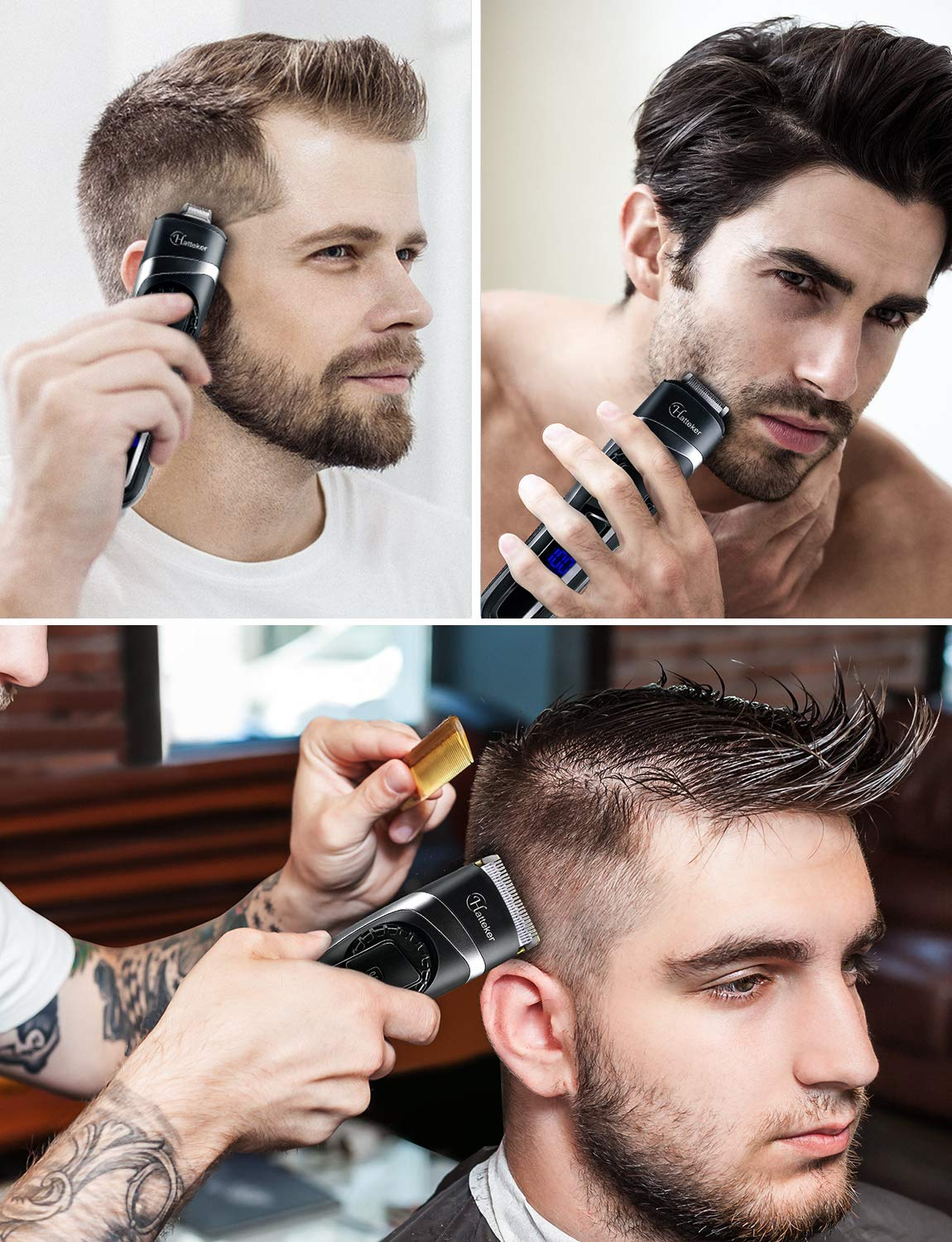 3 In 1 Men's Beard Trimmer & Hair Cutting Kit, Cordless Waterproof Hair Trimmer Kit