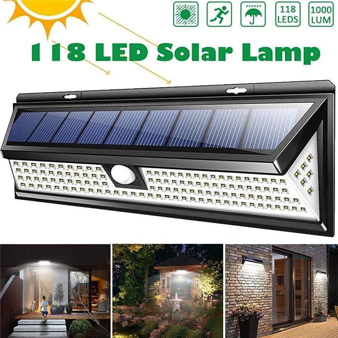 Laogg Luz Solar Exterior,118 LED 1000LM 3 Modos Jardín LED Lámpara ...