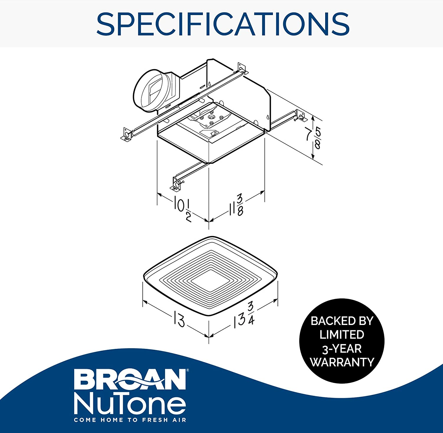 Broan-Nutone QTXE110 Ultra-Silent Ventilation Exhaust Fan for Bathroom and  Home, ENERGY STAR Certified, 0.7 Sones, 110 CFM - Built In Household  Ventilation Fans - Amazon.comAmazon.com