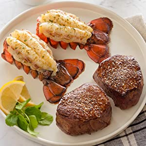 Lobster Gram Ship to Shore Dinner For Two – 2 Fresh Maine Lobster Tails, 2 Filet Mignons, and 2 New England Clam Chowders – Fresh and Fast Delivery - From the .1 Lobster Food Delivery Company