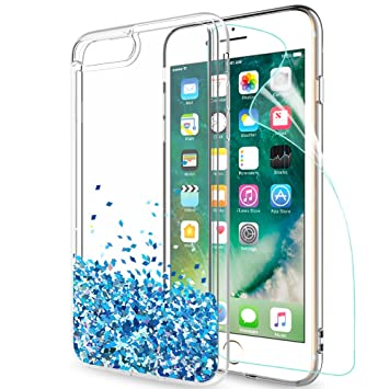LeYi Funda iPhone 7 Plus / 8 Plus Silicona Purpurina Carcasa con HD Protectores de Pantalla Transparente Cristal Bumper Telefono Gel TPU Fundas Case ...