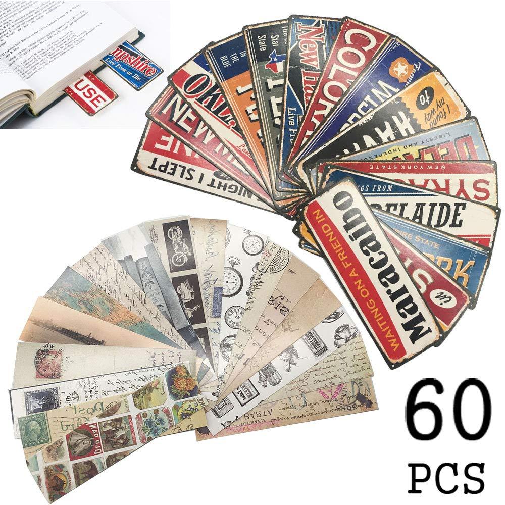 Segnalibri stile vintage per uomini da donna, targhetta vintage americana Marcatori per libri - Set Bulk di alta qualità (60 pezzi) whatUneed