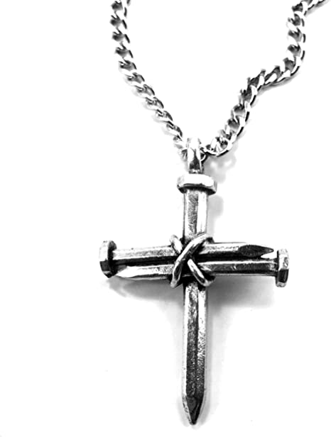 PUNK STYLE  NAILS 24 INCH CHAIN  WITH GIFT BOX CROSS MADE FROM METAL GOTH