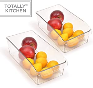 Totally Kitchen Clear Plastic Stackable Storage Bins with Carrying Handles | Refrigerator, Freezer, Pantry or Clothes Organization Container | Medium