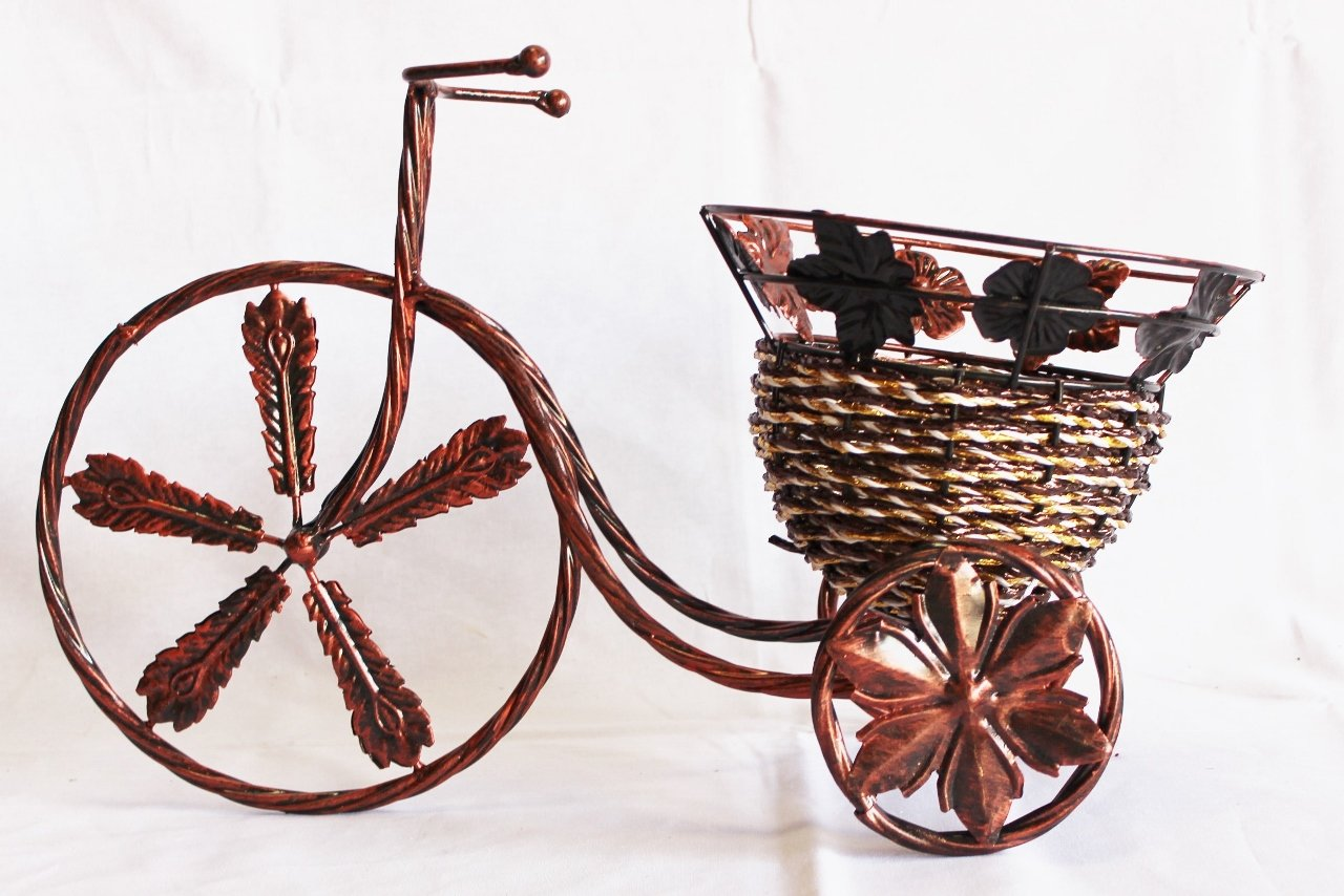 Brown and gold braided metal planter Rattan weaved basket width 39 cm Height 22 cm link