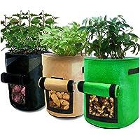 Bolsa de Cultivo de Plantas, 3 Piezas Maceta de Cultivo de Patatas, Macetas de Tela con Asas, Bolsa Transpirable y…