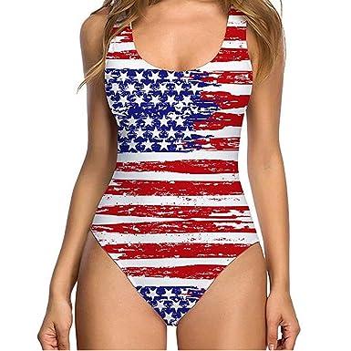 6ae773c79a6 EINCcm Womens Swimsuit Star Striped Printed USA Flag Print Sleeveless  Swimwear Sport Bechwear One Piece Bathing Suits at Amazon Women's Clothing  store: