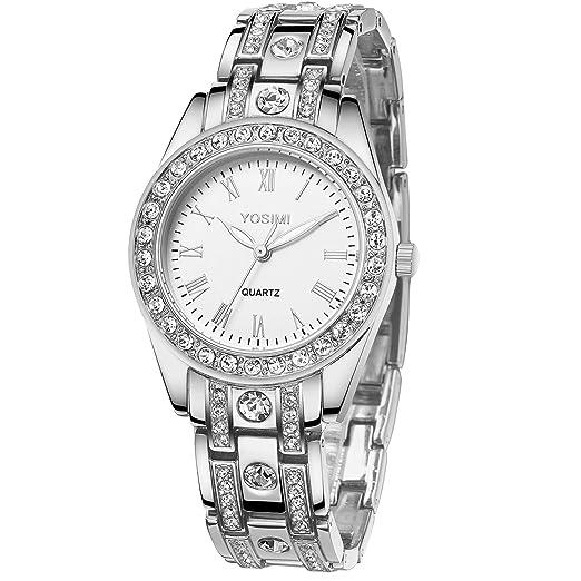 YOSIMI - Reloj para mujer con pantalla analógica y pulsera, diseño de números romanos con cristales brillantes y manecillas luminosas, color plateado: ...
