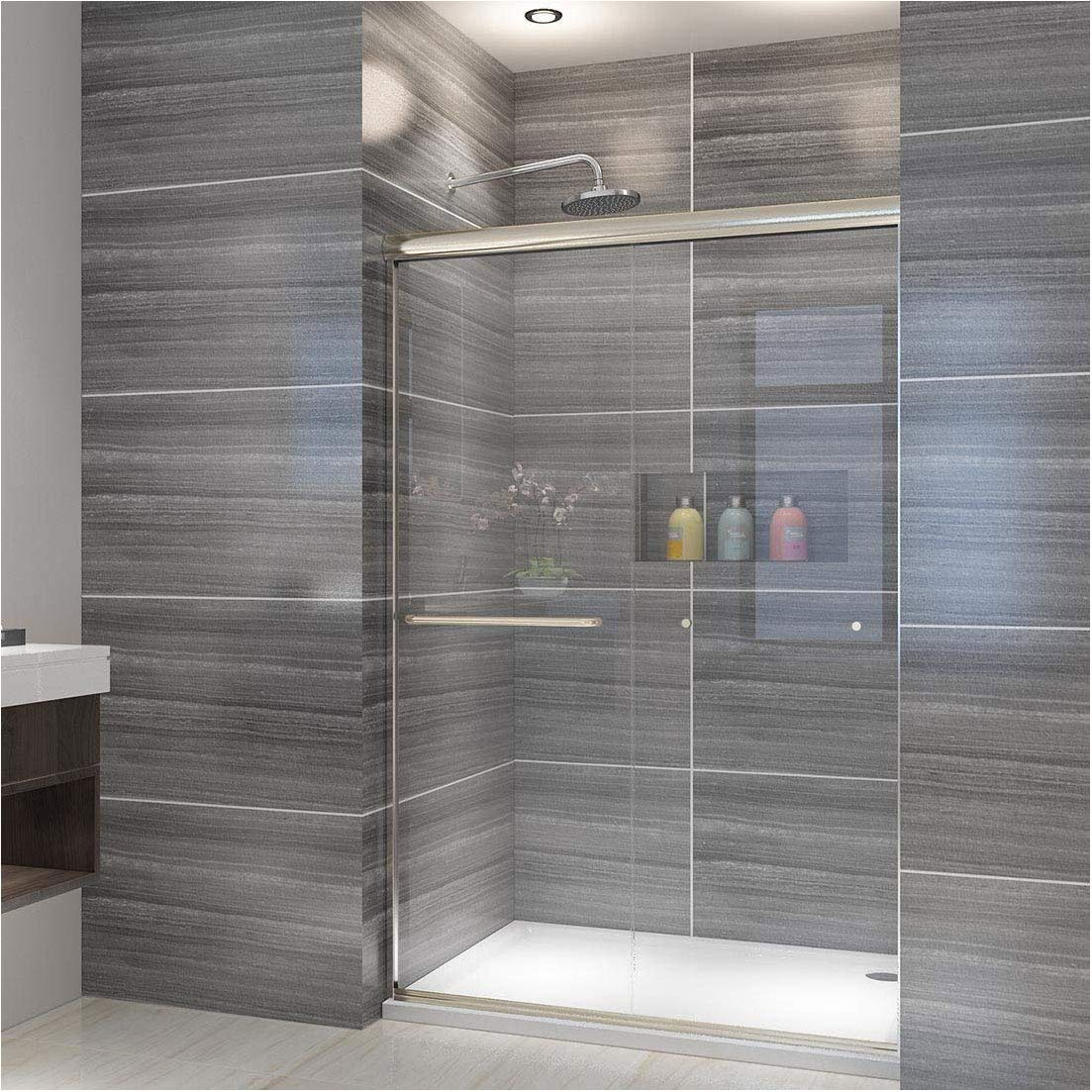 ELEGANT SHOWERS 46.5 in.- 48 in. W x 72 in. H, Semi-frameless 2 Bypass Sliding Shower Doors, 1/4 in. Shower Clear Glass Panel, Brushed Nickel Finish