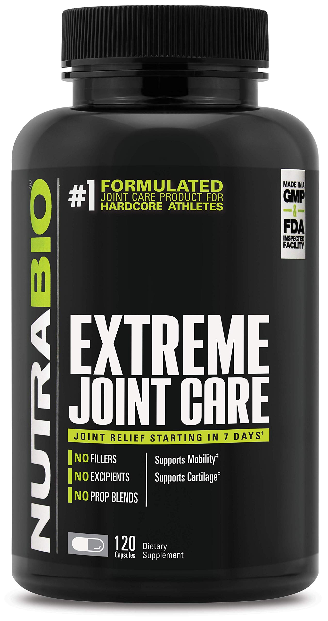 NutraBio Extreme Joint Care - Supports Healthy Joints, Mobility, and Cartilage - No Fillers, Excipients, or Proprietary Blends - Full Joint and Musculoskeletal Support Matrix - 120 Capsules
