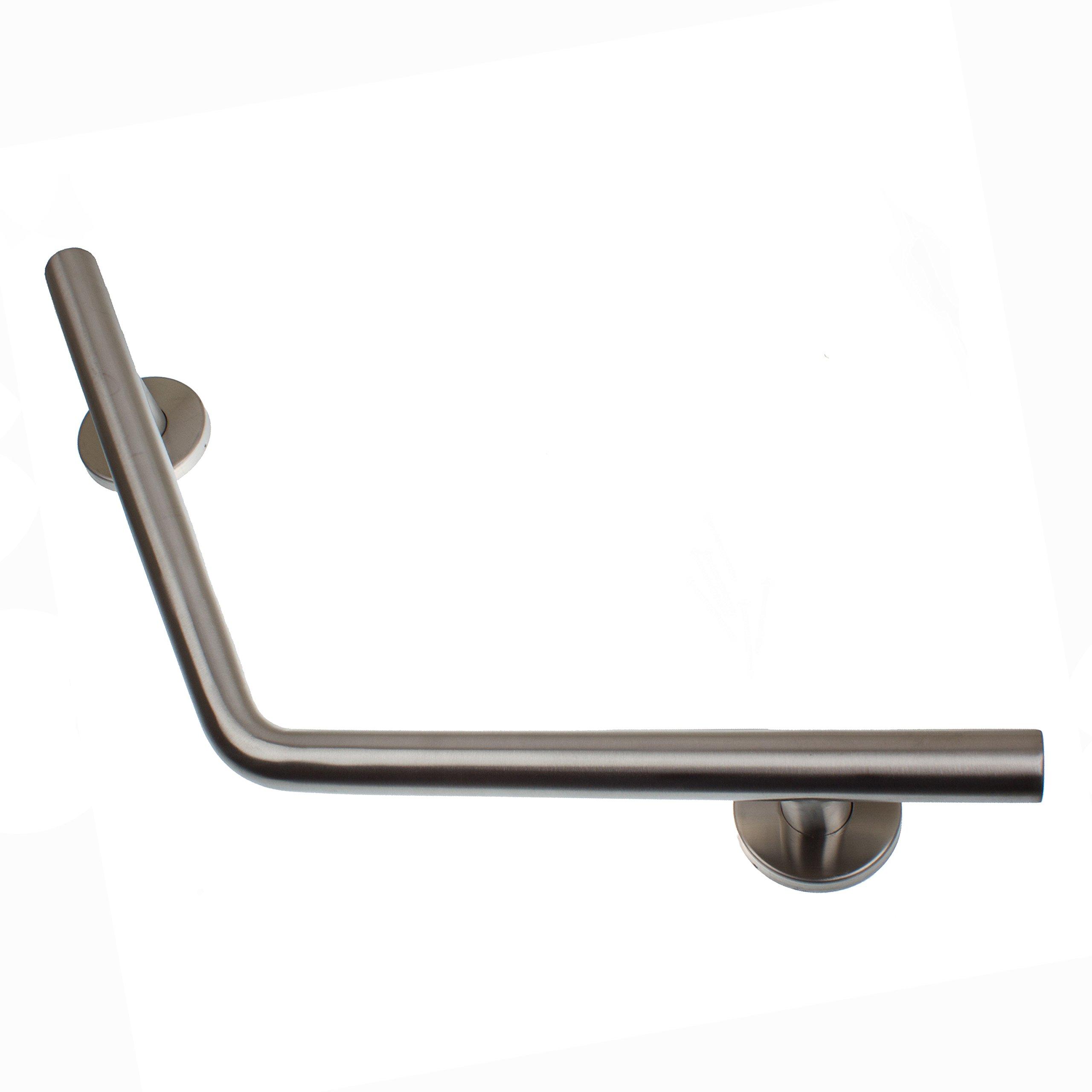 GlideRite Hardware Curved 18-inch Brushed Stainless Steel Safety Designer Grab Bar (Curved Bar)