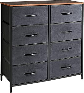 Kamiler Dresser with 8 Drawers, Tall Vertical Storage Organizer, 4-Tier Wide Drawer Dresser, Tower Unit for Bedroom/Hallway/Entryway/Closets(Rustic Brown