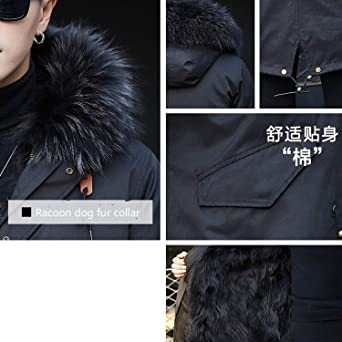 Amazon.com: Winter Jackets Mens Real f-ur Coat Men Plus Size Racoon f-ur Liner Warm Jackets: Clothing