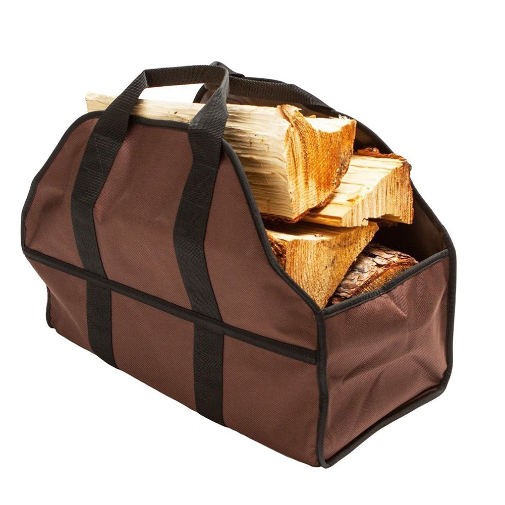 ZSL Large Firewood Tote Bag Wood Carrier Holder Firewood Log Tote Oxford Brown