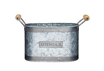 Eisen Silber 13.5 x 13.5 x 14.5 cm KitchenCraft Utensilienb/üchse Industrial Kitchen 12x14,5cm