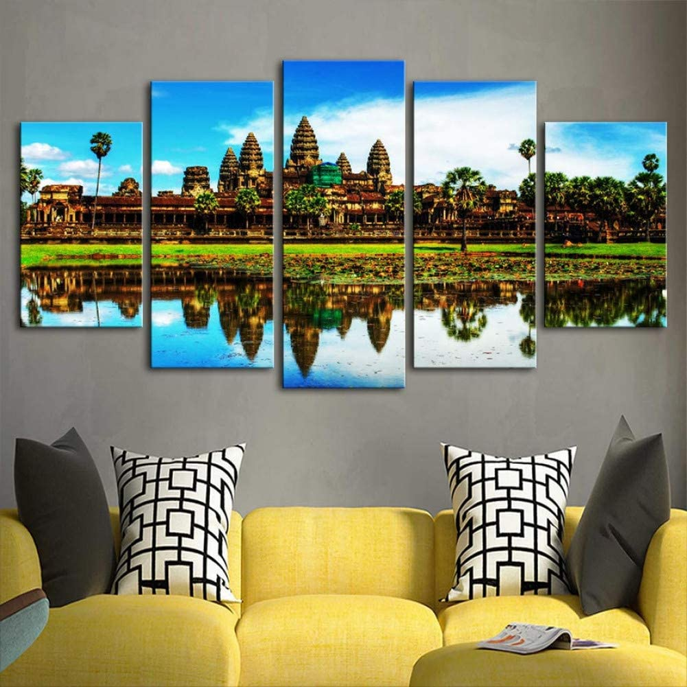 HIOJDWA Paintings 5 Piece Printed Canvas Angkor Wat Temples Painting Room Decor Print Poster Wall Art
