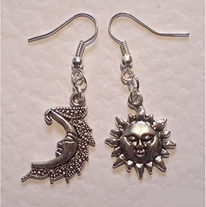 a3b4d0240 Image Unavailable. Image not available for. Color: Moon and Sun Earrings,  Mismatched ...