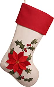 DAVID ROCCO Poinsettia Christmas Stocking, Red Flower Pattern Christmas Cuff Trim 21'' Rustic Xmas Stocks on Shelf Fireplace for Holiday Party Home Decoratiom Gifts
