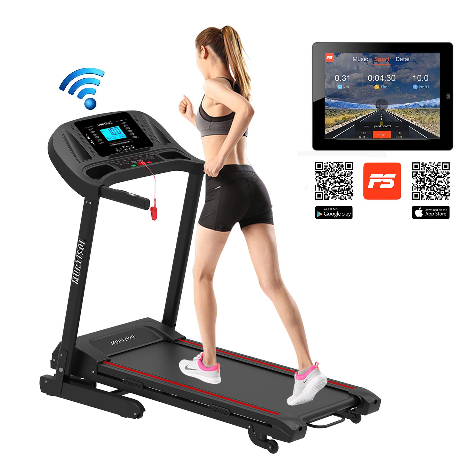 Murtisol 2.25HP Pro Folding Treadmill Incline with Electric Ascension and Heart Rate Grips,17''X48'' Widen Running Surface