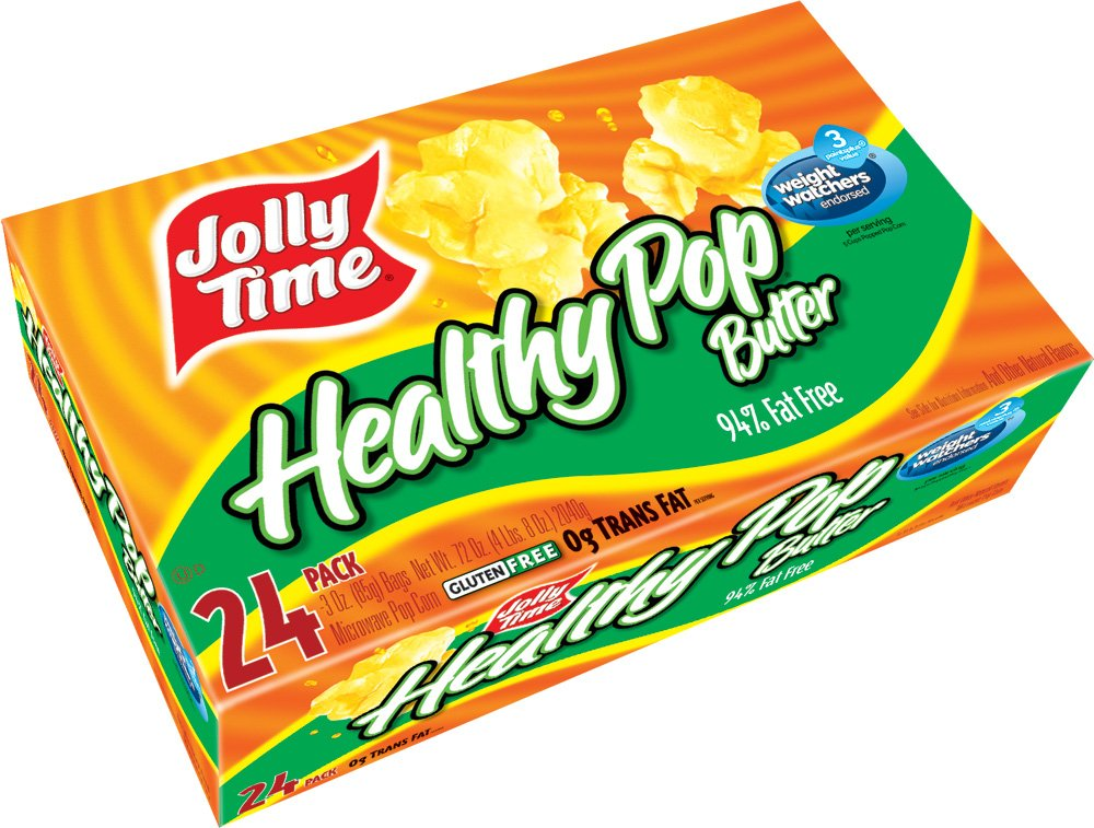 Jolly Time Healthy Pop Butter 94% Fat Free Weight Watchers Microwave Popcorn, Bulk 24-Count Box by Jolly Time