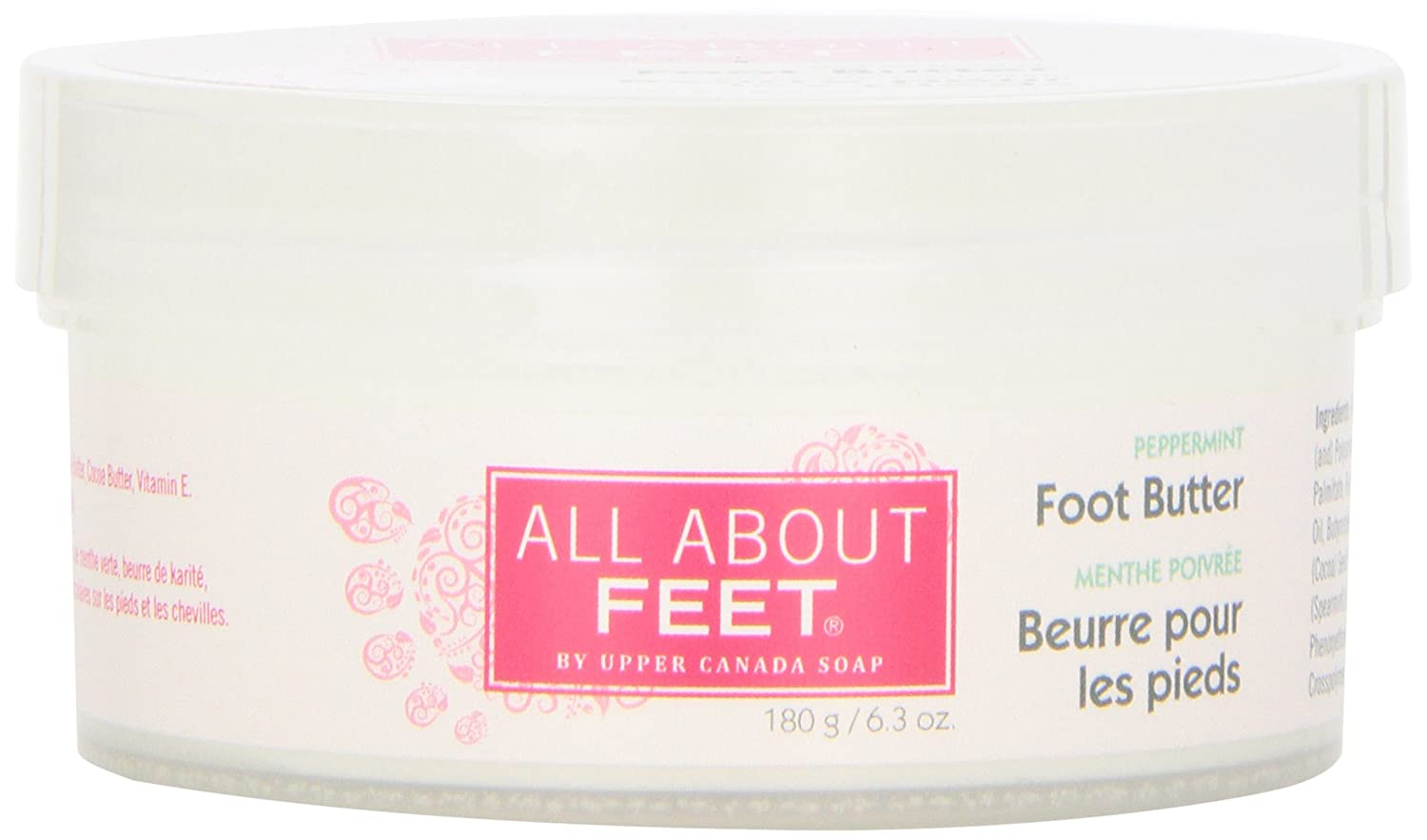Upper Canada Soap and Candle All About Feet Peppermint Massaging Foot Butter, 6.3-Ounce Jars 602431