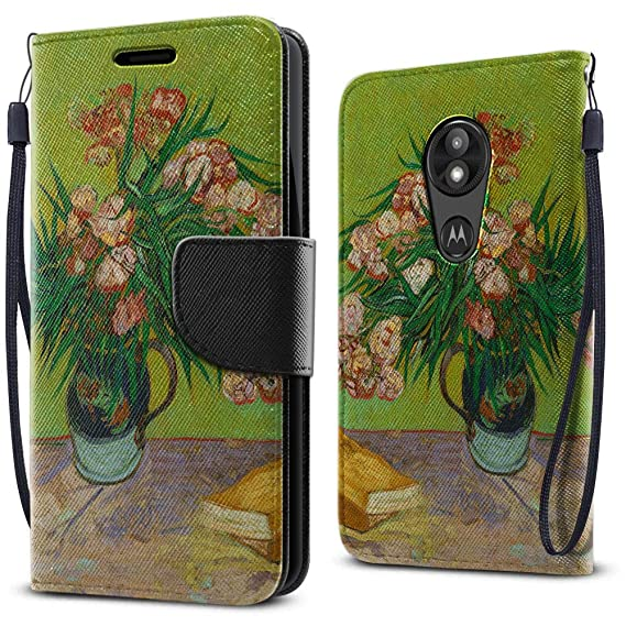 FINCIBO Case Compatible with Motorola Moto E5 Play 5 2 inch (Fingerprint),  Fashionable Flap Pouch Cover Case Card Holder Stand for Moto E5 Play (NOT