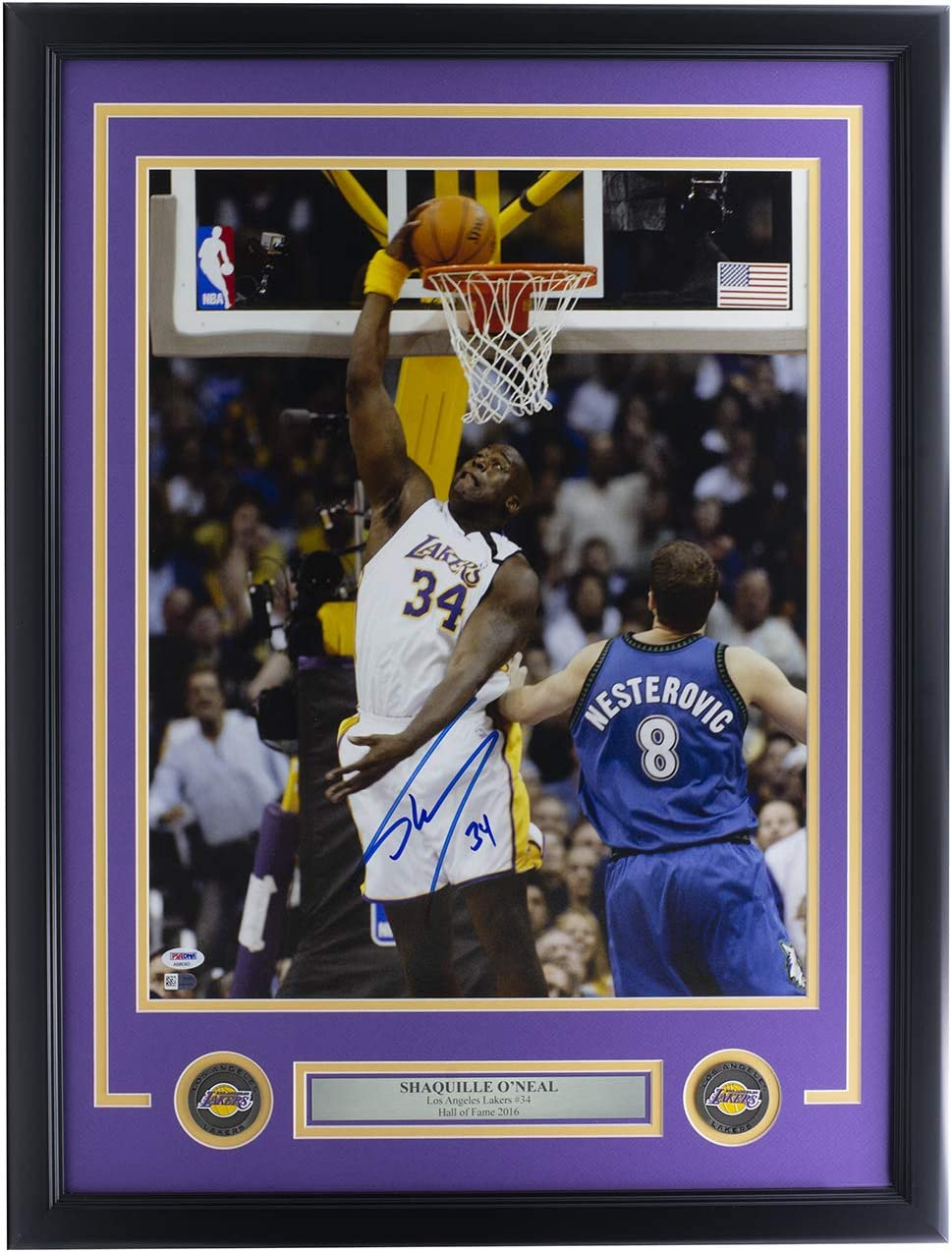 Shaquille ONeal Signed Framed 16x20 Los Angeles Dunk Photo PSA//DNA