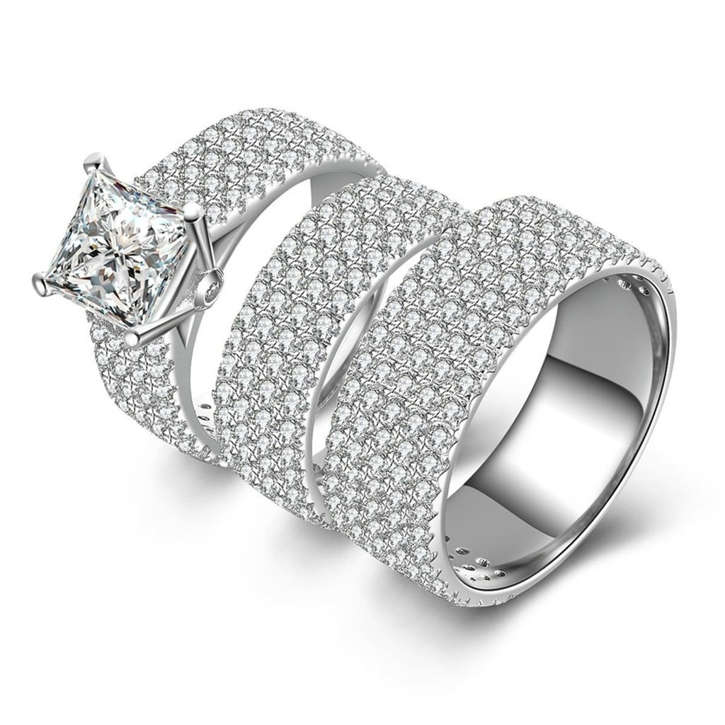 Epinki Women Rings, 925 Sterling Silver Ring Promise Ring Square Cubic Zirconia Double Ring Set Size 10.5