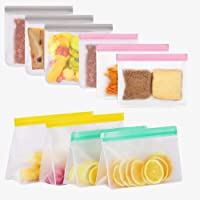 KAXA Silicone Food Storage Bags 10 Pack Reusable Sandwich Snack Freezer Bags Leak Proof Upgraded 4 Standup 6 Flat…