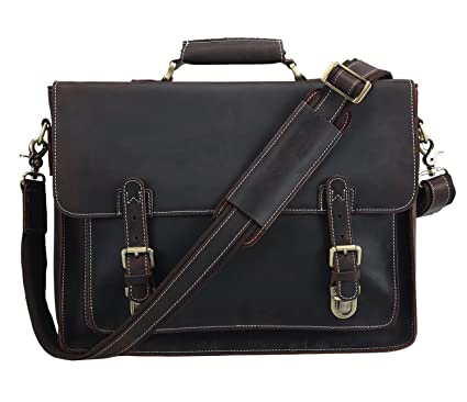 f91e200fab Image Unavailable. Image not available for. Color  Polare Men s Full Grain  Leather Laptop Briefcase Messenger Bag ...
