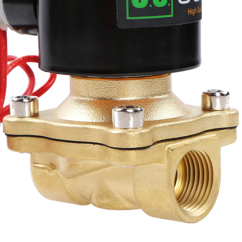 U.S Solid 220V AC 1//2 G Electrique /Électrovanne Laiton Normalement ferm/éNC Solenoid Valve entra/înement direct Air Eau Huile