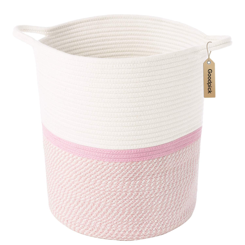 INDRESSME Cotton Rope Basket Pink for Baby Nursery Room | Cute Kids Laundry Hamper | Blanket Basket, Toy Chest Soft, Bottom | Woven Basket by INDRESSME