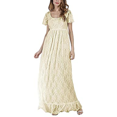 6994f8b762ec2 Maternity Maxi Dress Formal Wedding Bridesmaid Party Long Lace Maternity  Gown Summer Short Sleeve Loose Fit